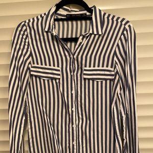 Zara blue & white striped button down, size XS